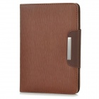 Wood Pattern Protective PU Leather + PC Flip-Open Case w/ Card Slot + Strap for Ipad MINI - Coffee
