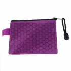 Small PVC + Cotton Zippered Documents File Holder Pocket / Bag w/ Strap - Purple (3 PCS)
