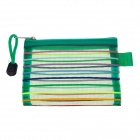 Small PVC Colorful Ribbon Zippered Documents File Holder Pocket / Bag w/ Strap - Green (3 PCS)