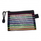 Small PVC Colorful Ribbon Zippered Documents File Holder Pocket / Bag w/ Strap - Black (3 PCS)
