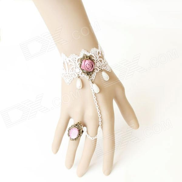 LC0852 Sexy White Lace Armband w - Rose + Ring w - sieraden - Wit + Roze + Bronze