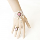 LC0852 Sexy White Lace Bracelet w/ Rose + Ring w/ Jewelry - White + Pink + Bronze