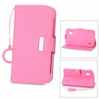 KALAIDENG Protective PU Leather Case w/ O Ring Hand Strap for Google Nexus 4 LG E960 - Pink