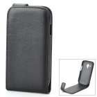 Genuine Leather Protective Flip-Open Case for Samsung Galaxy S3 Mini i8190 - Black
