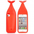 Nette Whale Form Protective Silicone Case w / Stand + Haken für iPhone 4 / 4S - Rot