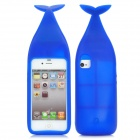 Nette Whale Form Protective Silicone Case w / Stand + Haken für iPhone 4 / 4S - Deep Blue