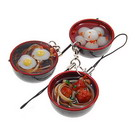 Assorted Cute Japanese Dishes Cellphone Straps (3-Pack)