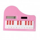 "Piano Shaped Solar Powered 1"" LCD 8-Digit Ultra-Thin Pocket Size Calculator - Pink"