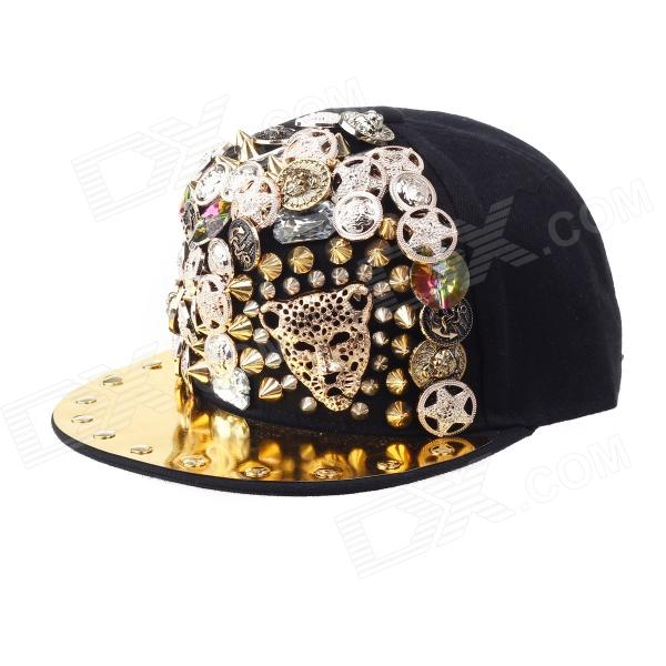 Hip-Hop Style Leopard Head Rivets Decoration Baseball Hat Cap - Black + Golden 2017 new fashion brand breathable v ring black snapback caps strapback baseball cap bboy hip hop hats for men women fitted hat