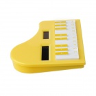 "Piano Shaped Solar Powered 1"" LCD 8-Digit Ultra-Thin Pocket Size Calculator - Yellow"