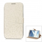 NEWTONS Diamond Pattern Protective PU Flip-Open Case w/ Magnet for Samsung i7100 - White