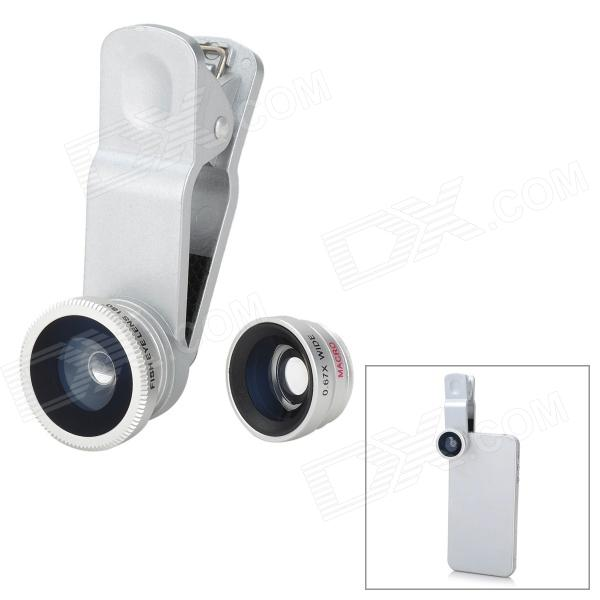 Universal 3-in-1 Clip-On Wide Angle + Fisheye + Macro Lens Set for Iphone / HTC / Samsung - Silver universal 0 4x super wide angle lens set for iphone samsung silver