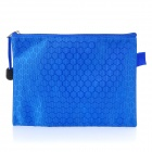Football Grain Pattern Zippered File / Document Bag / Pocket - Blue (Size M)
