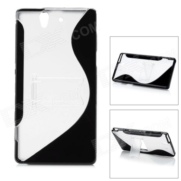 Protective TPU + PC Back Case w/ Stand for Sony L36h Xperia Z / C6603 / C660X / L36i - Black