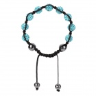 Elegant Polymer Clay Woven Bracelet w/ 9-Rhinestones 4-Beads for Women - Black + Blue