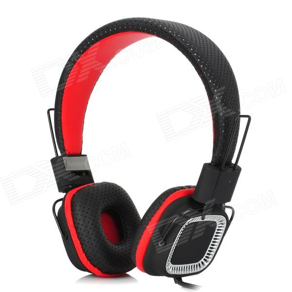Kanen KM890 Foldable Stereo Headphones w/ Microphone - Black + Red (3.5mm Plug / 150cm-Cable) 1more super bass headphones black and red