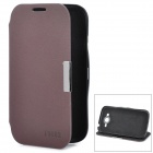 Stylish Protective PU Leather + Plastic Case for Samsung i9082 - Brown + Black
