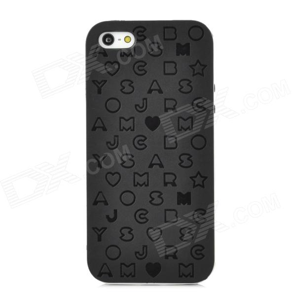 English Letters Style Protective Silicone + Plastic Back Case for Iphone 5 - Black