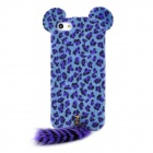 Stylish Leopard Ears + Fox Tail Style Protective Back Case for Iphone 5 - Blue + Purple + Black