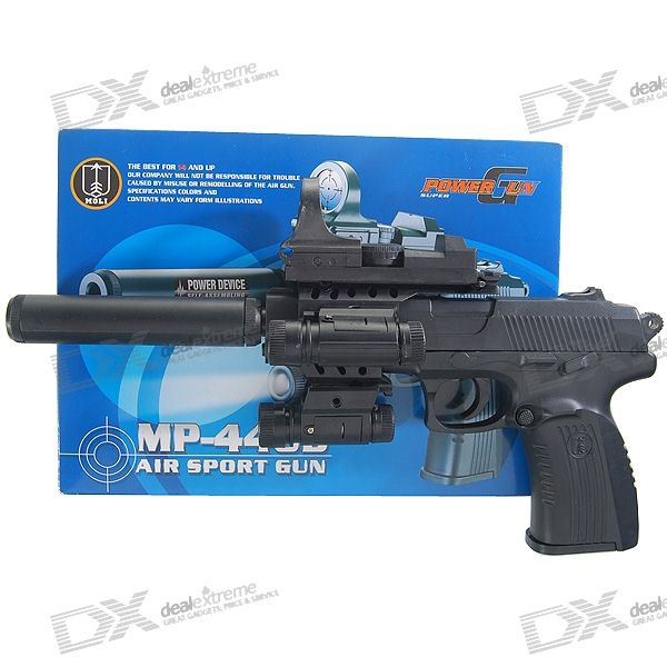DIY Assembled Plastic 6mm Caliber BB Gun Toy with Laser Sight and Flashlight