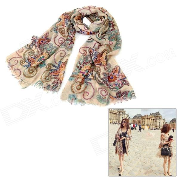 Fashion Totem Pattern Cotton Scarf Shawl - Beige