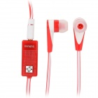 MINENG KMG-728 Stylish In-Ear Earphones w/ Microphone for Samsung / HTC - Red + White (135cm)