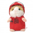 Cute Voice Repeat Talking Swaying Hamster Toy - Red (3 x AAA)