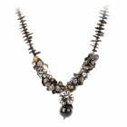 N0122 Shell Chain Crystal Pendant Necklace for Women - Black