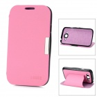 Stylish Flip-Open PU Leather + ABS Stand Case for Samsung i9082 - Pink + Black