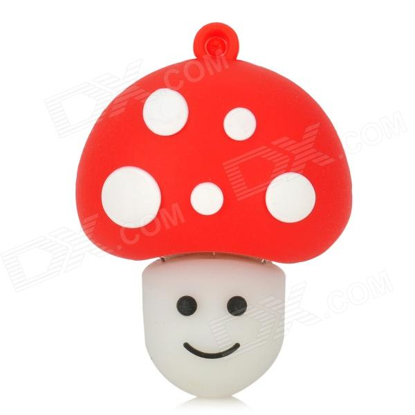Mushroom Shaped Rubber + Aluminum Alloy USB 2.0 Flash Drive - Red + White (8GB)
