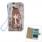 Sunglasses Girl Pattern PU Leather Flip-Open Case for Samsung Galaxy S3 / i9300 - Multicolored