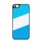 Contrast Color Pattern Protective Plastic Back Case for iPhone 5 - Blue + White + Deep Blue