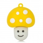 Mushroom Shaped Rubber + Aluminum Alloy USB 2.0 Flash Drive - Yellow + White (8GB)