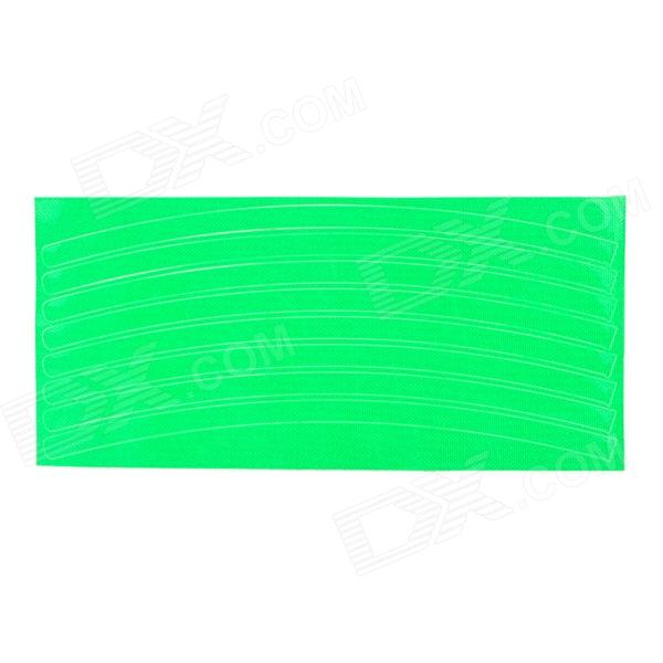 040806 Bicycle Reflective Wheel Stripe Sticker - GreenBike Accessories<br>Model40806Quantity1ColorGreenMaterialUV coatingFunctionsReflective wheel stripe aims to increase side visibility for bicycles to keep their riders safe; They are designed specifically to fit modern bicycle wheels and easy to install by being applied to the surface of the rim between the braking surface and the spokes, converting them into full reflectors, and staying out of the way of the brakesBest UseCyclingOther FeaturesSpecial retroreflective material, UV coating, high temperature resistant, waterproof; Clean your wheels before using the rim tape, suggest you clean with alcohol; For the best result, apply the sticker to the both side of the wheelPacking List1 x Wheel stripe sticker<br>