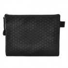 Football Grain Pattern Zippered File / Document Bag / Pocket - Black (Size M)