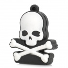 Skeleton Style Rubber + Aluminum Alloy USB 2.0 Flash Drive - Black + White (4GB)