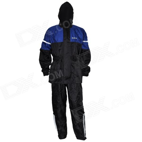 Tanked TRC16 Motorcycling Polyester Reflective Waterproof Rain Coat + Pants - Black + Blue (Size XL)