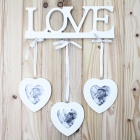 Decorative Love Letter Style Hook w/ 3 Picture Frames + Strap - White