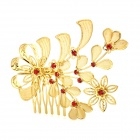 ZX-190 Elegant Leaf Shape Lady Alloy + Rhinestone Hairpin - Golden