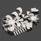 Leaf Pattern Rhinestone Hair Comb Jewelry - Silver