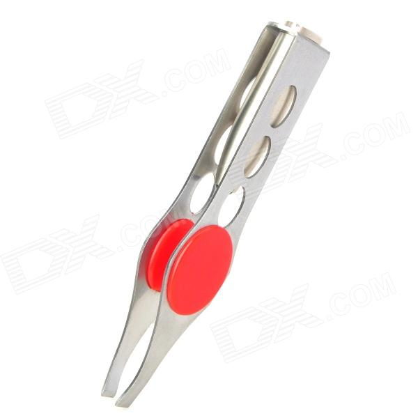 Portable Aluminum Alloy LED Lady Beauty Eyebrow Tweezers - Silver + Red