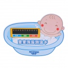 Baby Taking Shower Pattern Bath Water Temperature Thermometer Card - Blue + White + Black
