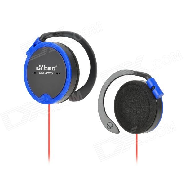 Ditmo DM-4000 Stereo Ear Hook MP3 / Cellphone Headphone w/ 3.5mm Jack - Red + Black + Deep Blue