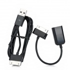 USB OTG Adapter Cable + USB Male to 30pin Male Data Cable for Huawei MediaPad 10 FHD - Black