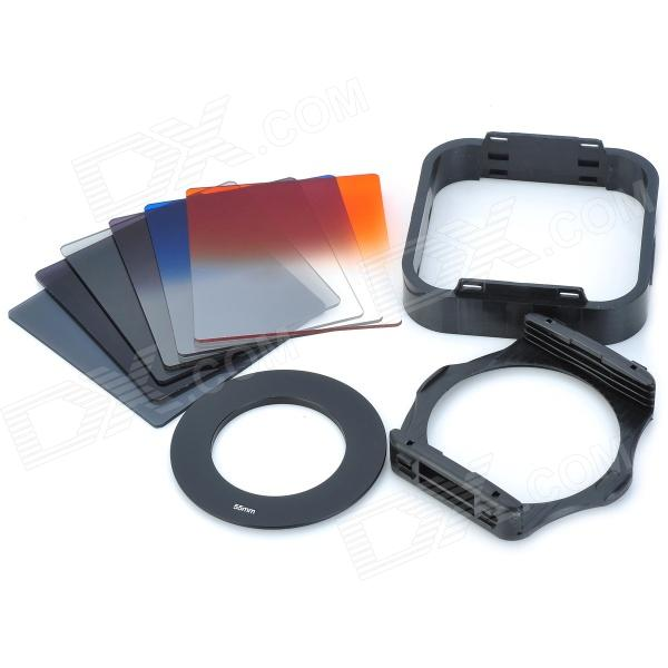 SHSYKJ09 10-in-1 Gradual Lens Filters + ND Lens + 55mm Ring Set for 55mm Lens Camera - Black 1 set pgy lens filters include mc uv nd4