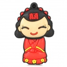 Chinese Traditional Bride Style Rubber + Aluminum Alloy USB 2.0 Flash Drive - Black + Red (16GB)