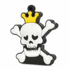 Skull Style Rubber + Aluminum Alloy USB 2.0 Flash Drive - Black + White + Yellow (16GB)