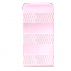 Horizontal Stripe Style Protective Flip-Open PU Leather Case for Iphone 5 - Pink