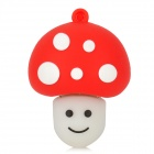 Mushroom Shaped Rubber + Aluminum Alloy USB 2.0 Flash Drive - Red + White (4GB)