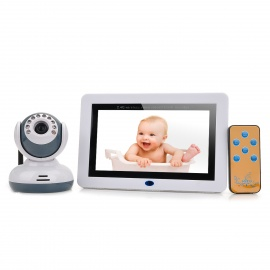 "Multifunction Wireless 2.4GHz 7"" LCD Baby Monitor w/ 9-IR LED (NTSC / PAL) / SD Slot - White"